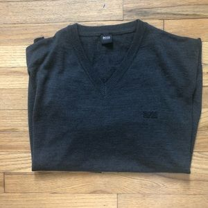 ⬇️58 Boss Hugo Bos Charcoal V Neck Sweater XL
